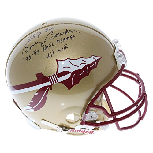 State Seminoles Autographed Gold Riddell Full Size Authentic Helmet - ''93 - 99 National Champs Scalp 'Em and 411 Wins'' Inscriptions - JSA Certified Authentic (Gold Seminole Head)