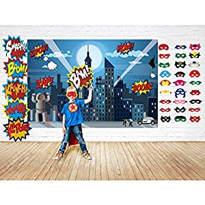 Superhero Party Supplies Kit with 7ft Superhero Backdrop, 28 Superhero Masks & 6 Jumbo Party Photo Booth Props in a Fun Gift Box