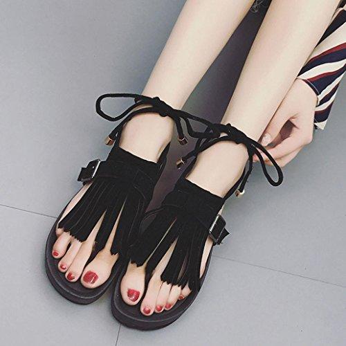 SHOBDW Boho Sandalias para mujer Verano platafoma Sandalias bohemian Romanas Zapatos de Hebilla Negro
