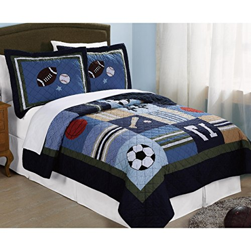 3 Piece Kids Full Queen Size Blue Sport Theme Patchwork Quilt, Grey Red White Basketball Soccer Baseball Football Stars, Active Activity Squares Horizontal Stripes, Sports, Cotton by C&U