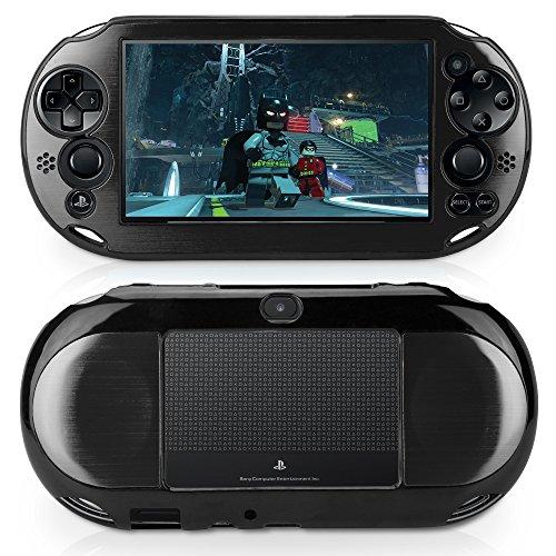 Sony Playstation Vita Slim Case, BoxWave [Minimus Brushed Aluminum Case] Ultra Low Profile Brushed Aluminum Back Cover for Sony Playstation Vita Slim - Jet - Case Aluminum Brushed