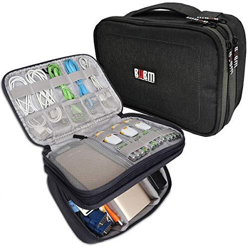 BUBM 12'' Double Layer Waterproof Handbag Travel Office Gear Organizer Electronics Accessories Gadget Bag For USB Cable, SD Card, Hard Drive, Digital Camera, iPad (XL,Black) by BUBM