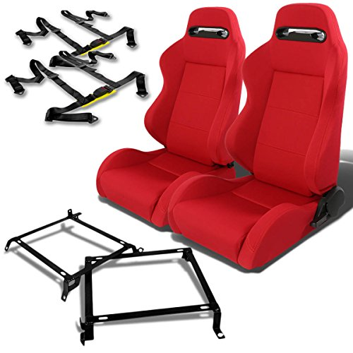 Honda Civic/Acura Integra DB DC Pair of Type-R Clothes Racing Seats (Red)+Seat Bracket+4-Point Black Belt