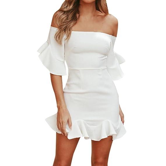 Keepwin Vestidos Midi para Mujer Off The Shoulder Bodycon Vestido De Noche De Sirena (S