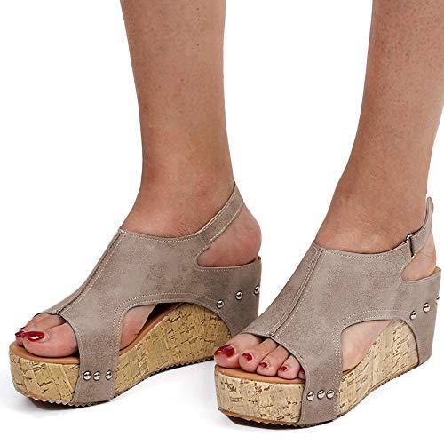 Athlefit Women's Cutout Belt Wedges Sandals Platform Faux Leather Cork High Heels Size 8 Khaki Gladiator