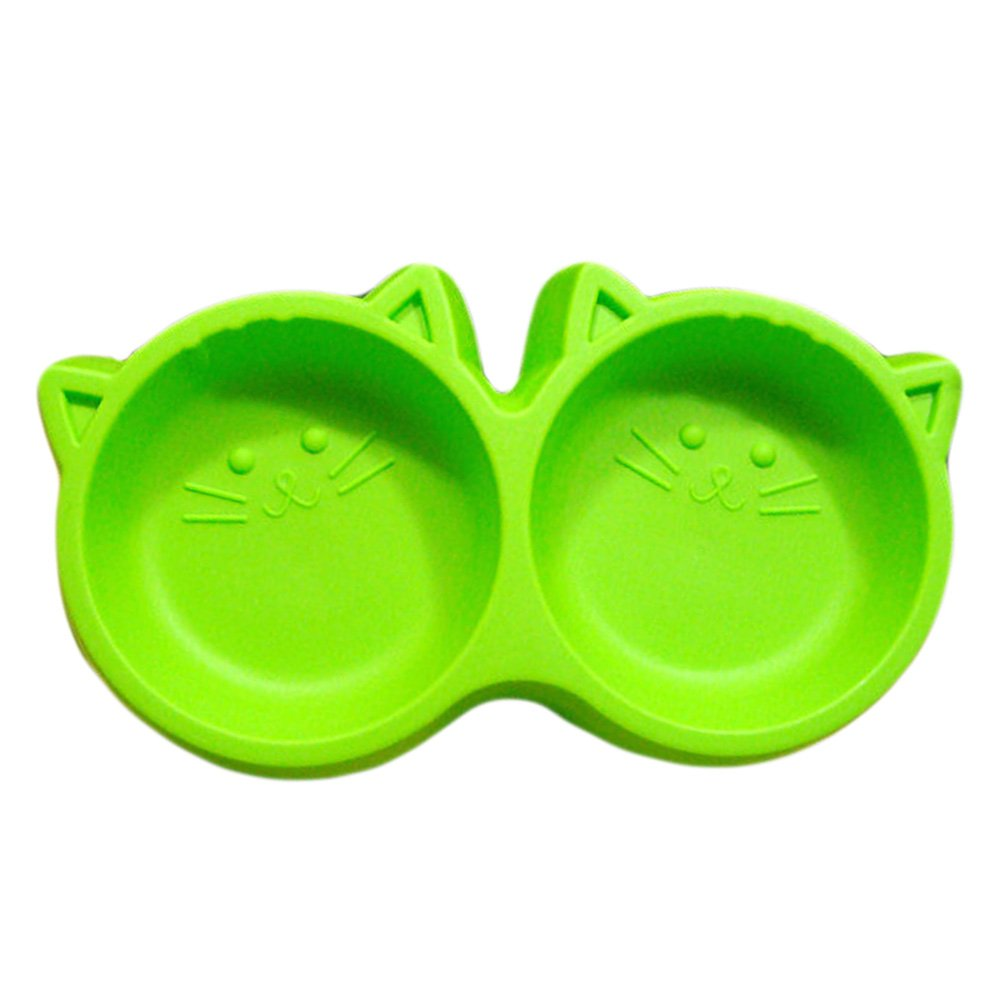 Saymequeen Double Bowl Dog Cat Food Water Bowl Puppy Interactive Feed Bowl (green)