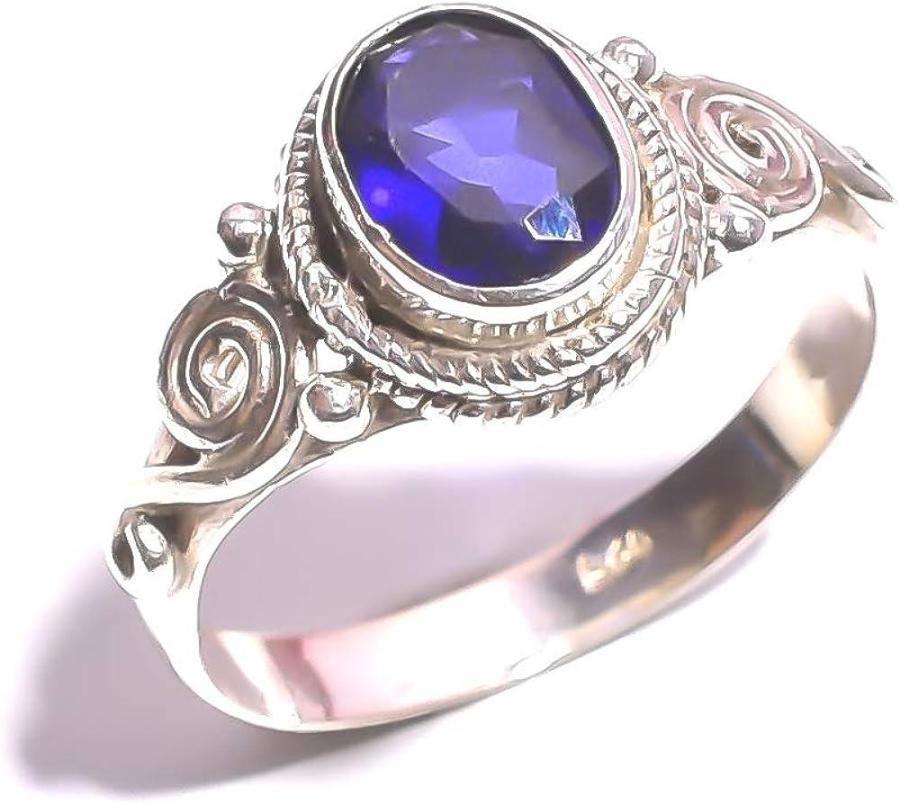 mughal gems & jewellery Anillo de Plata de Ley 925 Anillo de joyería Fina con Piedras Preciosas de Zafiro Azul Natural (Tamaño 7 U.S)
