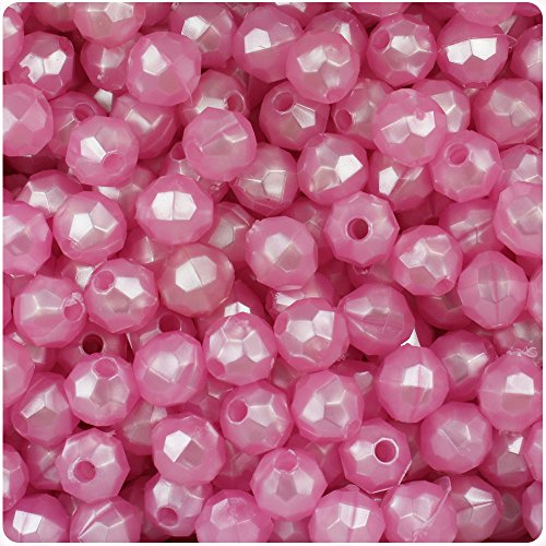 BEADTIN Light Pink Pearl 8mm Faceted Round Craft Beads (8mm Round Faceted Acrylic Beads)
