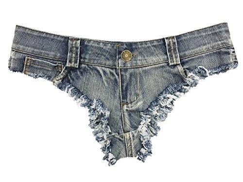 VOGRACE Womens Low Rise Mini Denim Shorts Denim Thong Cheeky Jeans Shorts (Small(US 0-2), Distressed-Blue)