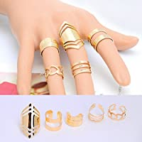 5 Pcs Women Girl New 18K Gold Plated Knuckle Finger Ring Set Jewelry Party