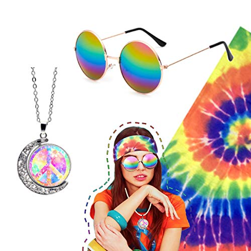 3 Pieces Hippie Accessories, Hippie Glasses Rainbow Peace Sign Necklace Hippie Headband for Women Men, Hippie Costume Set 70s ()