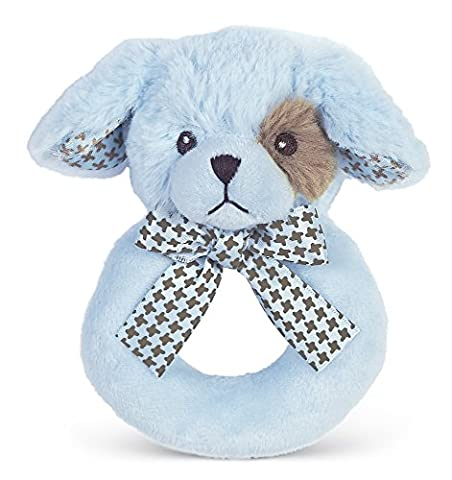 Bearington Baby Lil' Waggles Puppy Dog Plush Ring Rattle (Blue) 5.5