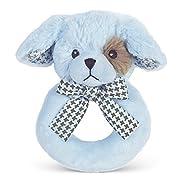 Bearington Baby Lil' Waggles Plush Stuffed Animal Blue Puppy Dog Soft Ring Rattle, 5.5