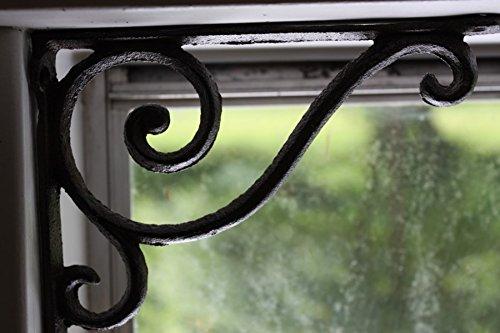 Vintage-Look Elegant Design Window Corner Decorative Treatment Using Cast Iron Shelf Brackets, 6 5/8
