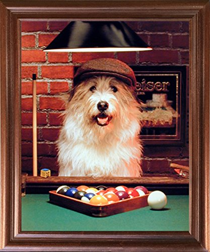 Cute Dog Playing Pool Funny Kids Wildlife Animal Wall Decor
