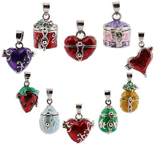Prayer Locket (Aromatherapy Necklace Essential Oils Diffuser Colorful Locket Pendants Memorial Jewelry Antiqued Prayer Box Wish Box Pendant for DIY Necklace Bracelets (10 Pcs with Different Styles) Sdootjewelry)