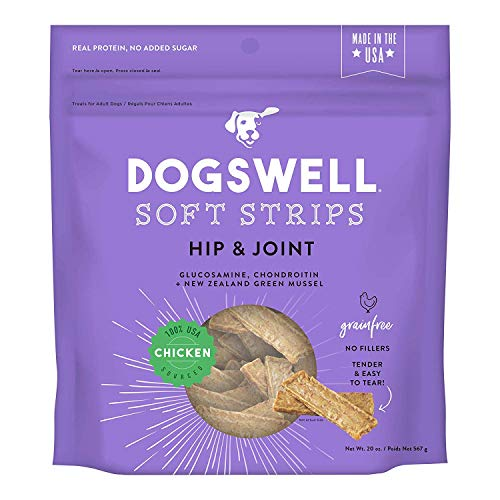 DOGSWELL Hip and Joint Chicken Soft Strips Dog Grain Free Treats 20oz Made in USA