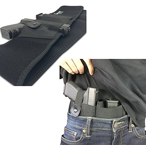 Belly Band Holster for Concealed Carry | IWB Holster | Waist Band Handgun Carrying System | Hand Gun Elastic Holder for Pistols (Right-Handed)