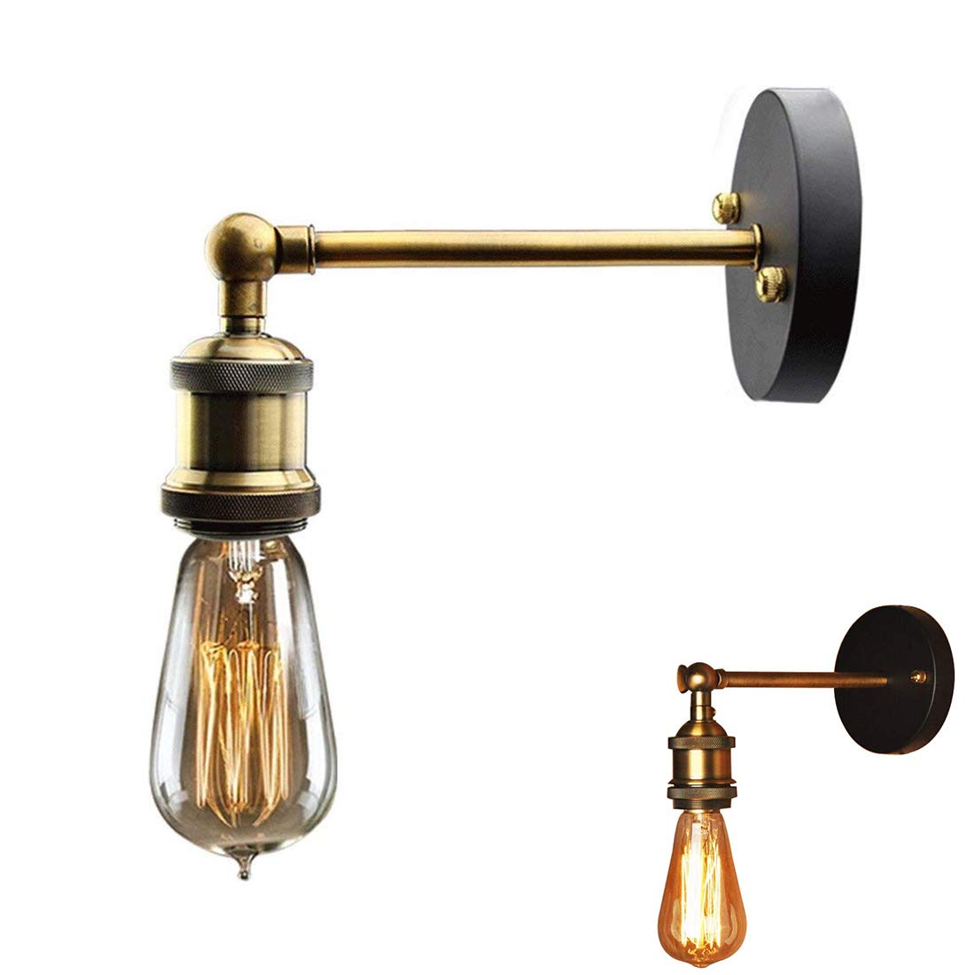 ✨Vintage Industrial luz antigua pared lámpara cabeza cobre montaje accesorios pared Retro lámpara de pared con la lámpara de Edison E27 Socket (Single ...