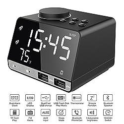 Alarm Clock with USB Charger, 4.2 LED Digital Alarm Clock with FM Radio, Bluetooth Speaker, 12/24H Mode, Temperature, Snooze, Adjustable Alarm Volume for Bedrooms Bedside Desk