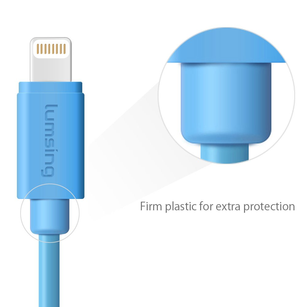 Lumsing Lightning to USB Cable Apple Certified Sync and Charging Cord(3.3 Feet/1M) with Ultra Compact Connector Head for iPhone, iPod and iPad(Blue) by Lumsing (Image #2)