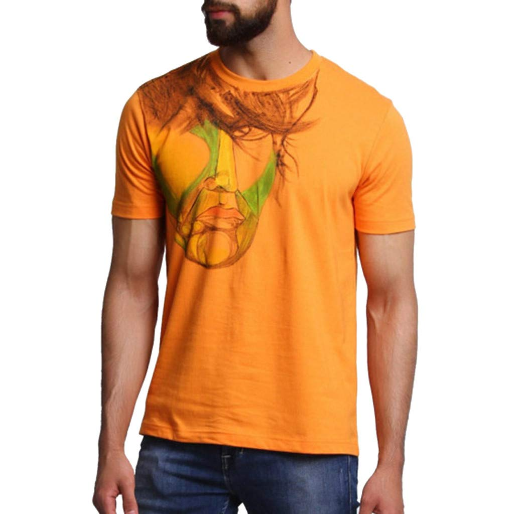 F_Gotal T-Shirt for Mens, Men's Personalit Print Short Sleeve Round Neck Shirt Big and Tall Casual Slim Fit Tees Blouse Tops Orange