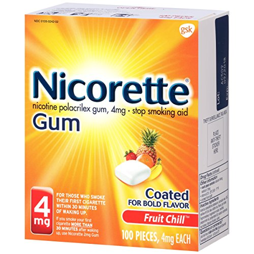 (Nicorette Nicotine Gum Fruit Chill 4 Milligram Stop Smoking Aid 100 Count)