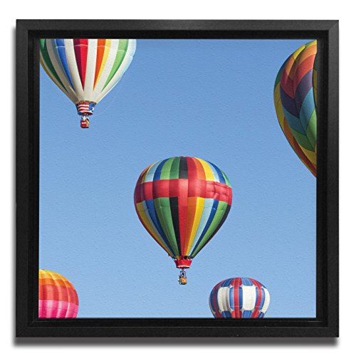 (JP London Ready to Hang Made in North America Framed 1.5in Thick Gallery Wrap Canvas Wall Art Hot Air Balloon Blue Sky Ride 18in SQSFCNV2403)