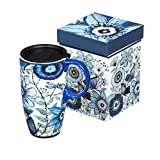 Shades Of Indigo Flowers And Butterflies Ceramic Travel Coffee Mug