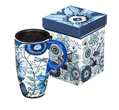 - Shades of Indigo Flowers and Butterflies Ceramic Travel Coffee Mug 17oz
