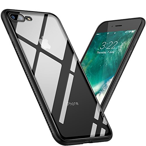 iPhone 7 Plus / 8 Plus Case?Cafele Clear Hybrid Case with Thin Tempered Glass Back Cover and Soft Silicone Rubber Bumper Frame for Apple iPhone 8 Plus / iPhone 7 Plus - Black Frame [Shock Absorption]
