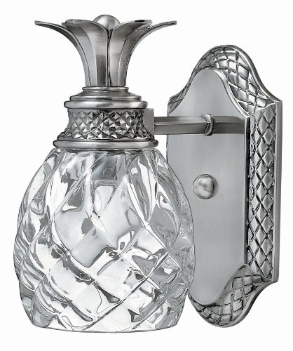 Hinkley 5310PL Tropical/British Colonial One Light Bath from Plantation collection in Pwt, Nckl, B/S, Slvr.finish,