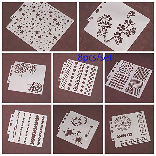 8pcs/Set DIY Craft Star Layering Stencils for Walls Painting Scrapbooking Stamp Album Decor Embossing Paper Card Template by ZDUANG (Image #3)