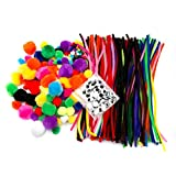 EduKit Jumbo 500 PC Crafting Kit for Kids | Pipe Cleaners, Yarn Pompoms & Googly Eyes Large Assortment of Colors & Size | DIY Art Supplies for Children's Craft Projects, Paper Crafts, Holiday Crafts