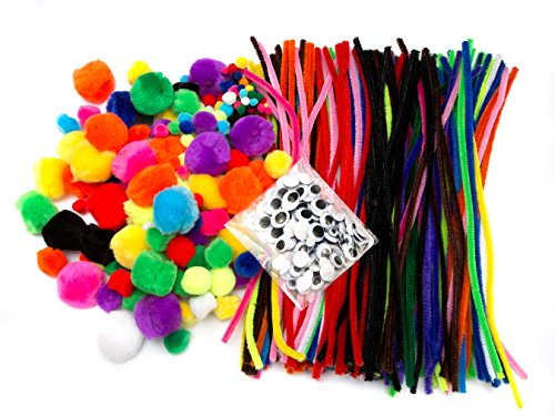 EduKit Jumbo 500 PC Crafting Kit for Kids | Pipe Cleaners, Pompoms & Googly Eyes Large Assortment of Colors & Size | DIY Art Supplies for Children's Craft Projects, Paper (Christmas Projects For Toddlers)