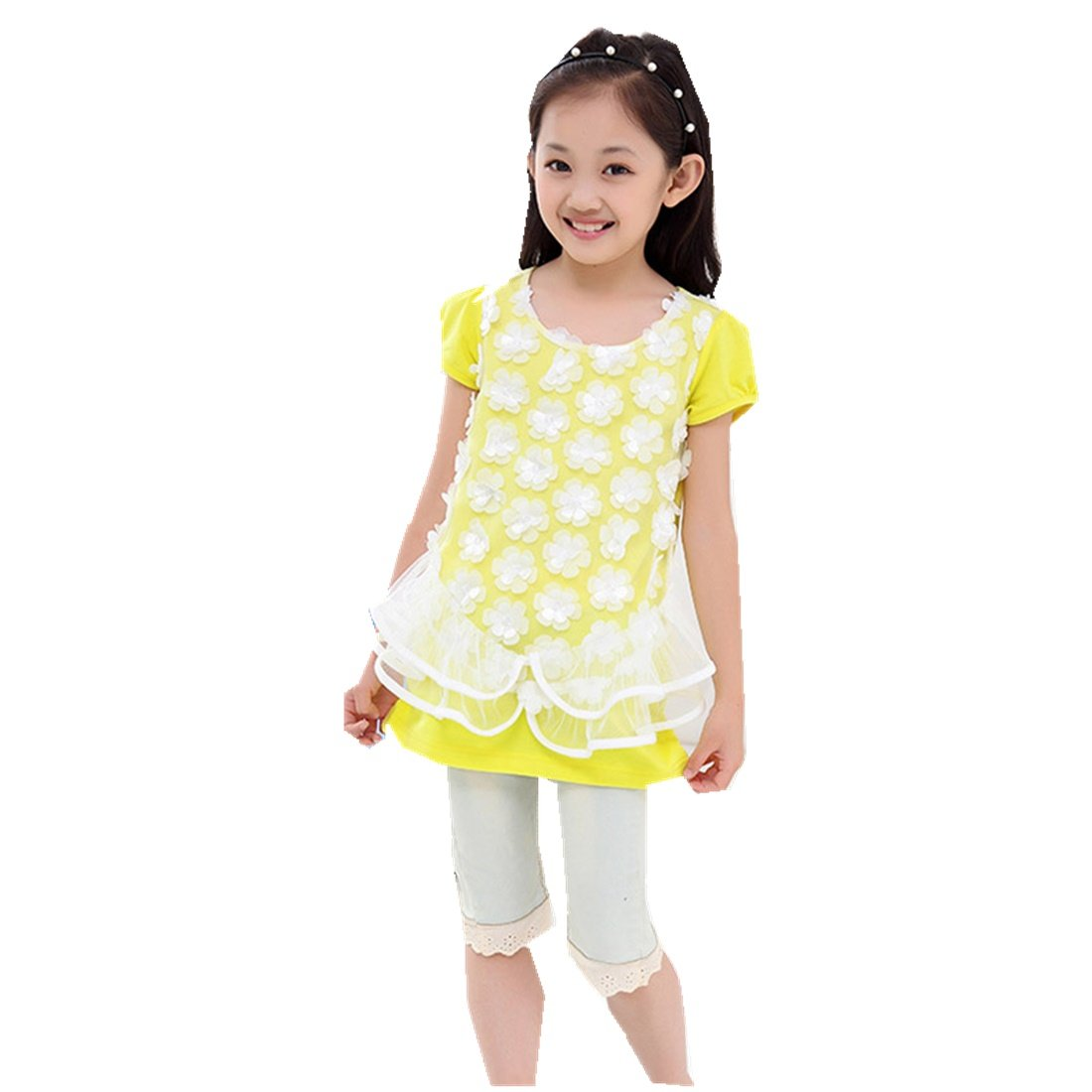 Children's Summer Girls Long Style T-Shirt Korean Lace Round Neckline