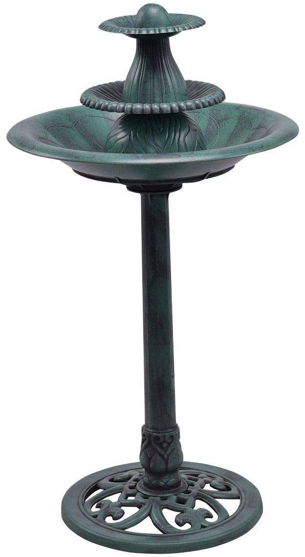 Globe House Products GHP 120V Green PP Self-Contained Water Recirculation Pump 3-Tier Bird Bath Fountain