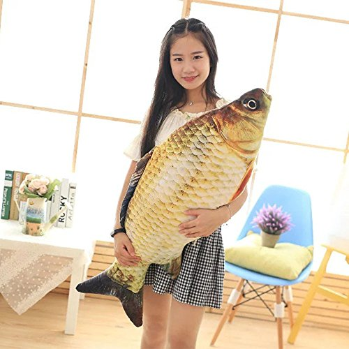 Pillows Fish Giant (Makaor Throw Pillow,Fish Shape Decorative Cushion Kids Plush Toys Cushion Children's Room Decoration (Length: 80CM, Yellow))