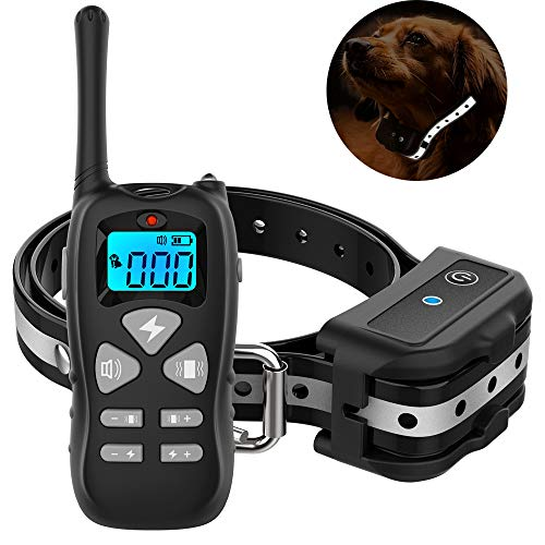 Vanleng Dog Training Collar with Remote 1800ft [Reflective Straps] Waterproof Rechargeable with Beep/Vibration/Electric Shock Modes for Small Medium Large Dogs (for 1 Dog)