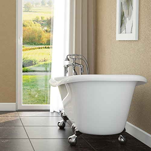 (Luxury 60 inch Clawfoot Tub with Vintage Slipper Tub Design in White, includes Brushed Nickel Ball and Claw Feet and Drain, from The Brookdale Collection)