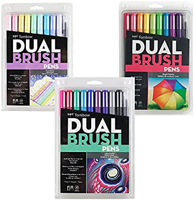 Tombow Dual Brush Pen Art Markers 10-Pack, Pastel (Bright/Pastel/Galaxy)