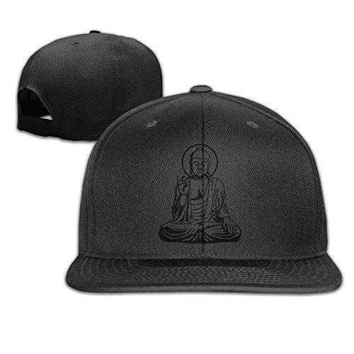 Young Buddha Sketch Silhouette Flat Brim Baseball Cap ()