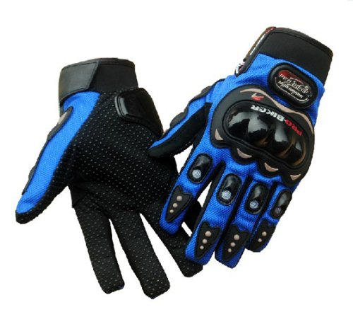 Fiber Carbon Gloves Motorcycle (Tcbunny Pro-biker Motorbike Carbon Fiber Powersports Racing Gloves (Blue, Large))