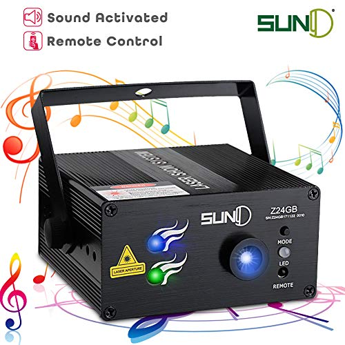 SUNY Laser Lights stages lighting 24 Green Blue Patterns Gobos Projectors Sound Activated Music Laser Projector Remote Control LED Party Lights Dance DJ House Decoration Xmas Holiday Event Party Show