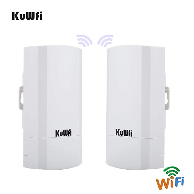 KuWFi 2-Pack 300Mbps Wireless Outdoor CPE Kit Indoor Outdoor Point-to-Point  Wireless Access Point Bridge Supports 1-2KM Transmission Distance Solution