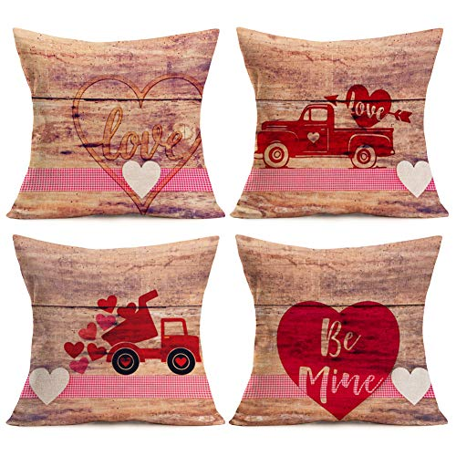 Asamour Valentine's Day Home Decor Pillowcase Vintage Wood Red Truck with Love Sweet Heart Cotton Linen Throw Pillow Case Cushion Cover 18''x18'' Set of 4,Be Mine,Love & Arrow,White Pink Buffalo Plaid