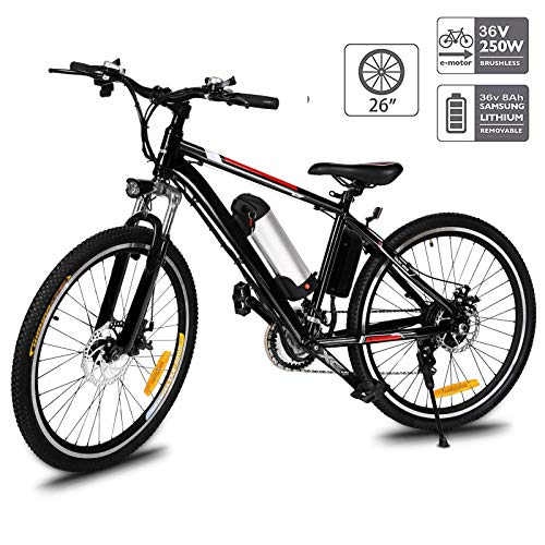 Fast88 Electric Mountain Bike with 250W Removable Lithium-Ion Battery (36V, 8AH), E-Bike with Battery Charger (Black)