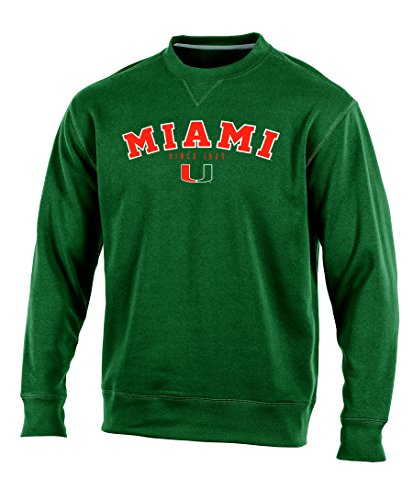 Champion (CHAFK) NCAA Miami Hurricanes Adult Men Crew Neck Fleece, Medium, Green