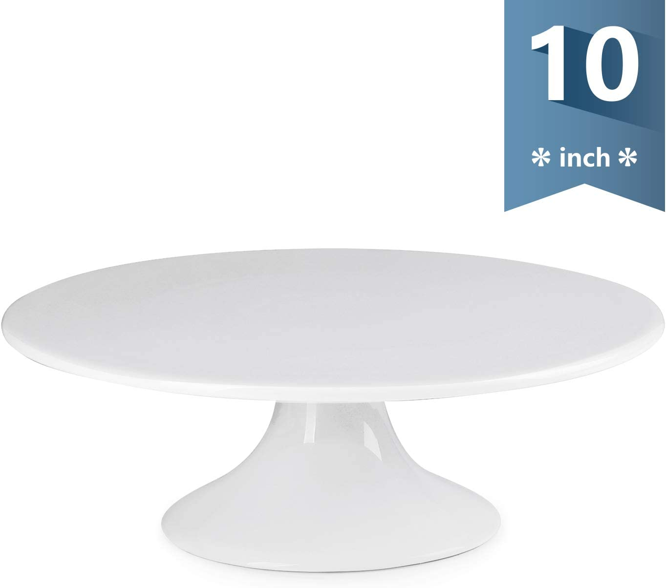 Sweese 708.101 10-Inch Porcelain Cake Stand, Round Dessert Stand, White Cupcake Stand for Parties