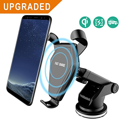 Wireless Car Charger Mount,Colisivan Ultra Sticky Car Dashboard or Air Vent Phone Holder Cradle for Samsung Galaxy Note 8/ S8/ S8+/ S7/ S6 Edge+/ Note 5, QI Wireless Standard Charge for iPhone 8/ 8 Plus/ X(A)